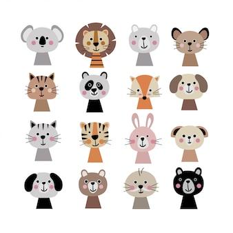 Conjunto de rostos de animais fofos