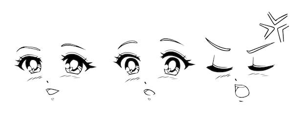 Conjunto de rostos de anime e mangá. expressões diferentes. ilustração vetorial desenhada de mão.