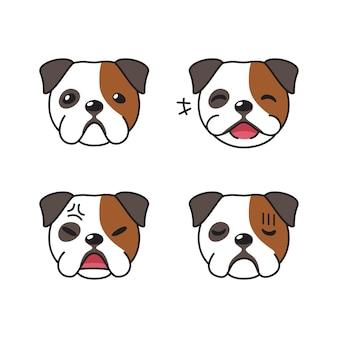 Conjunto de rostos de bulldog com diferentes emoções
