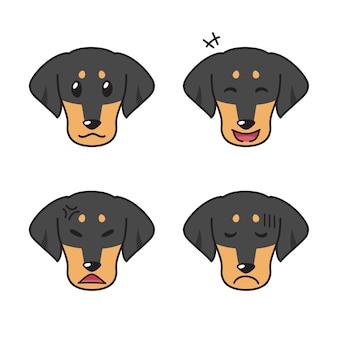 Conjunto de rostos de cachorro bassê mostrando emoções diferentes