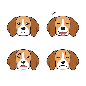 Conjunto de rostos de cachorro beagle com diferentes emoções