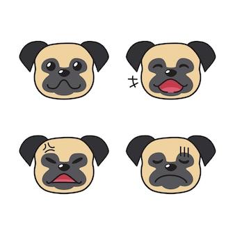 Conjunto de rostos de cachorro pug mostrando emoções diferentes