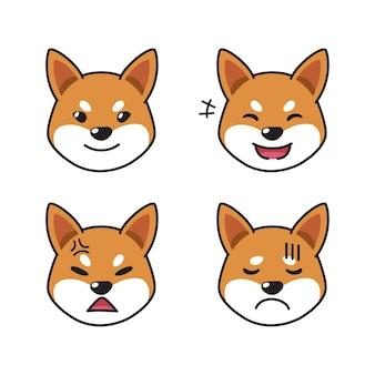 Conjunto de rostos de cachorro shiba inu mostrando emoções diferentes