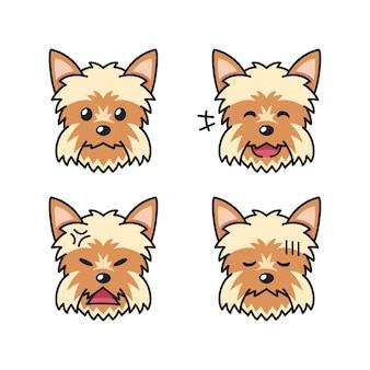 Conjunto de rostos de cachorro yorkshire terrier de personagem mostrando emoções diferentes