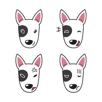 Conjunto de rostos de cães bull terrier mostrando emoções diferentes