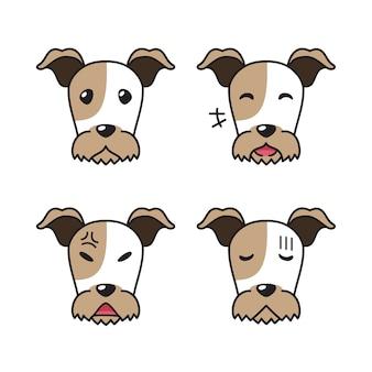 Conjunto de rostos de cães de fox terrier com personagens mostrando diferentes emoções