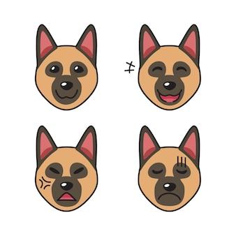 Conjunto de rostos de cão pastor alemão mostrando diferentes emoções