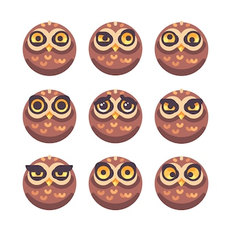 Conjunto de rostos de coruja engraçados com diferentes expressões