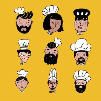 Conjunto de rostos de desenhos animados de chefs cozinheiros em cores, estilo doodle, coleção de nove chefes de cozinheiros diferentes com rostos sorridentes, usando o toque branco tradicional ou ilustração vetorial plana de chapéu