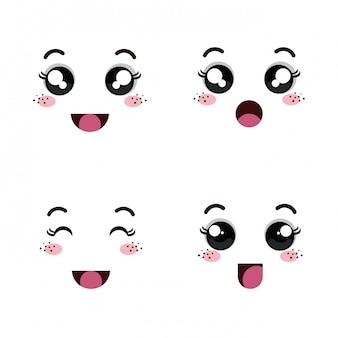 Conjunto de rostos de emoticon