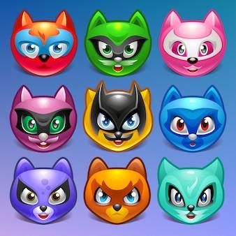 Conjunto de rostos de gato colorido dos desenhos animados