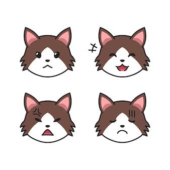 Conjunto de rostos de gato maltrapilho mostrando diferentes emoções para o projeto.