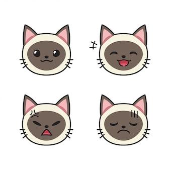 Conjunto de rostos de gato siamês mostrando emoções diferentes