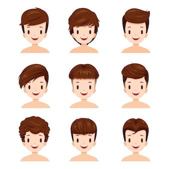 Conjunto de rostos de homem com diferentes estilos de cabelo
