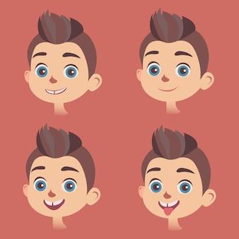 Conjunto de rostos de meninos com diferentes tipos de expressões faciais.