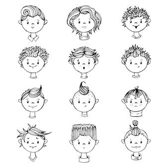Conjunto de rostos de meninos.