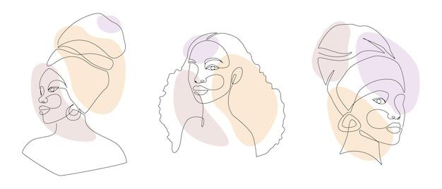 Conjunto de rostos de mulher africana em um desenho de linha.