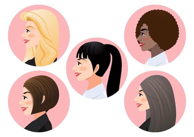 Conjunto de rostos de mulheres de negócios em perfil para pose de vista lateral
