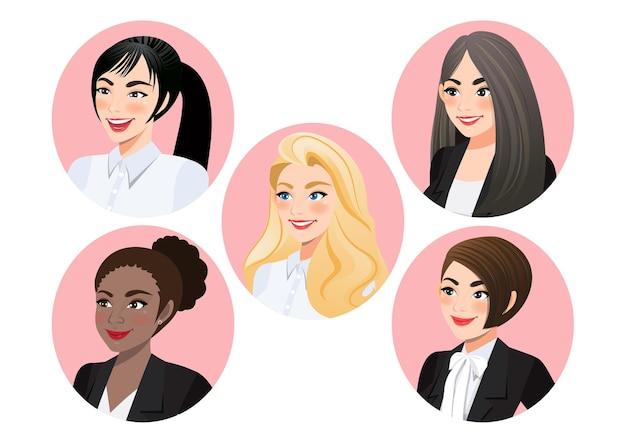 Conjunto de rostos de mulheres de negócios em perfil para visualização de pose