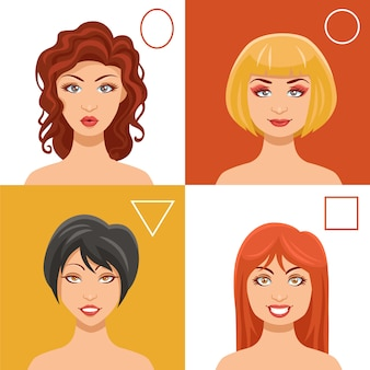 Conjunto de rostos de mulheres