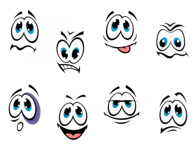 Conjunto de rostos de quadrinhos