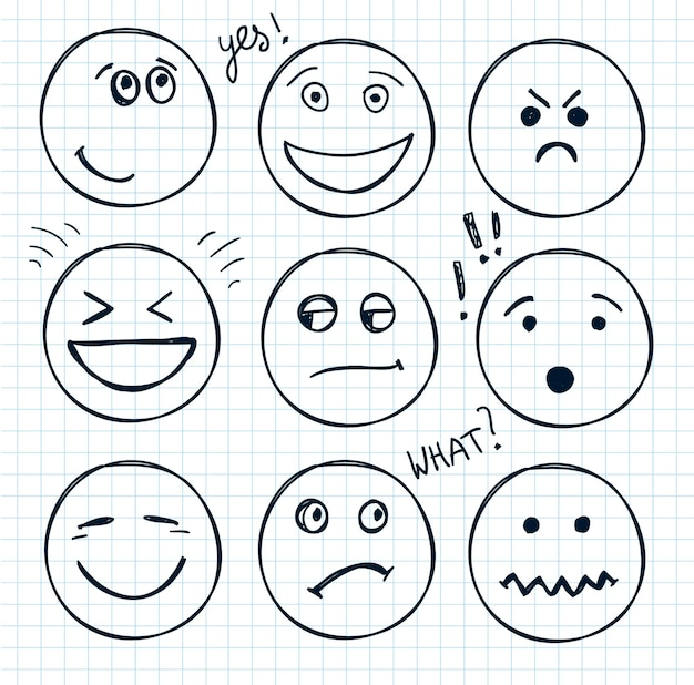 Conjunto de rostos desenhados à mão, humores, sorrisos isolados. ilustração, doodle