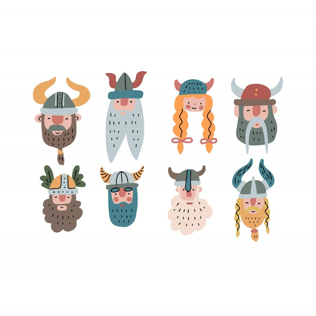 Conjunto de rostos engraçados de viking