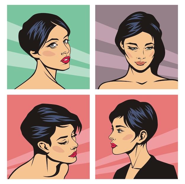 Conjunto de rostos femininos em quadrinhos, desenho animado da pop art