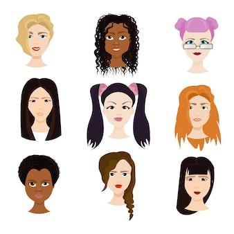 Conjunto de rostos femininos isolados, diversas mulheres com diferentes retratos de cortes de cabelo