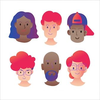 Conjunto de rostos humanos expressando emoções positivas.