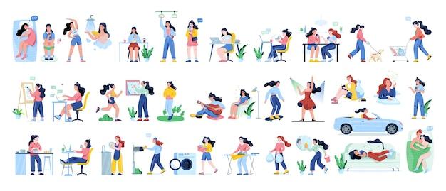 Conjunto de rotina diária de uma mulher. atividades de mulher jovem. esporte, recreação e entretenimento.