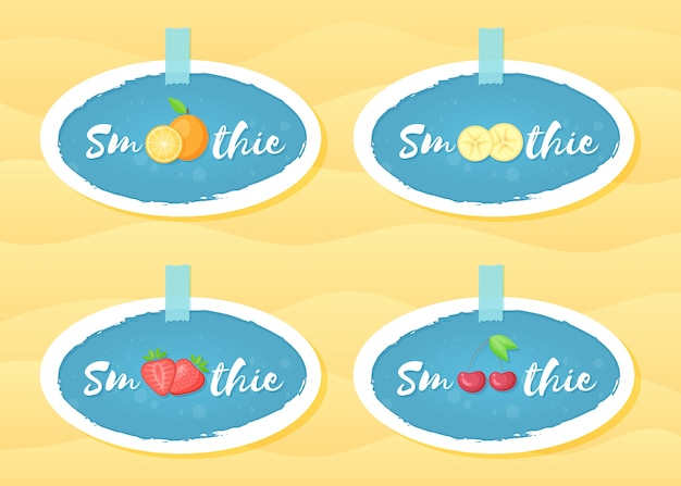 Conjunto de rótulo azul smoothie da fruta shake vector design