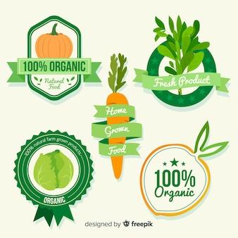 Conjunto de rótulo de alimentos orgânicos