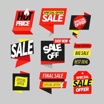Conjunto de rótulo de banner de venda