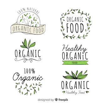 Conjunto de rótulo de comida orgânica desenhada de mão
