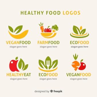 Conjunto de rótulo de comida orgânica plana