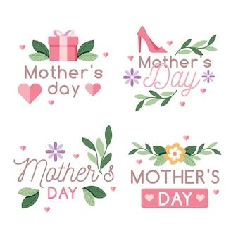 Conjunto de rótulo de dia das mães de design plano