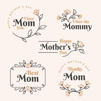 Conjunto de rótulo de dia das mães plana