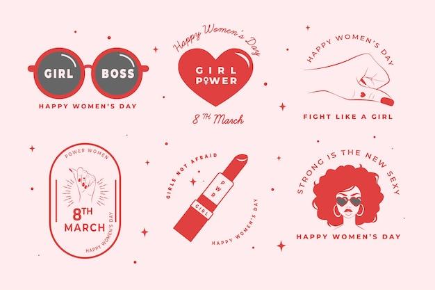 Conjunto de rótulo de dia das mulheres mão desenhada