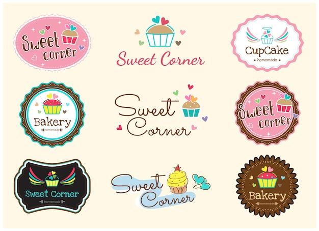 Conjunto de rótulo de distintivo de padaria doce fofo e logotipo