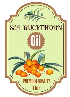 Conjunto de rótulo de espinheiro mar óleo