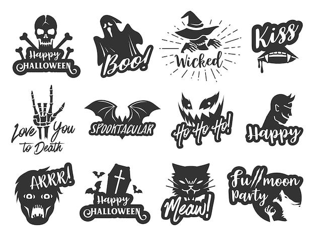 Conjunto de rótulo de etiqueta tipográfica de halloween