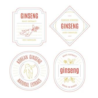 Conjunto de rótulo de frasco de ginseng