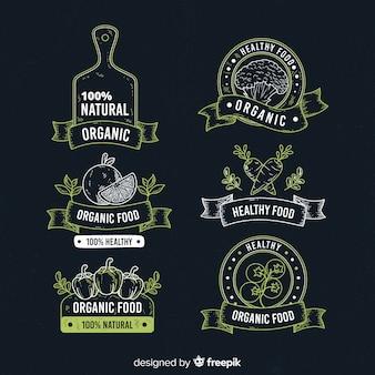 Conjunto de rótulo de frutas orgânicas vintage lousa