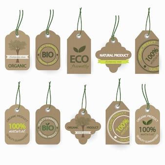 Conjunto de rótulo de papelão bio orgânico natural.