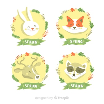 Conjunto de rótulo de primavera de animais