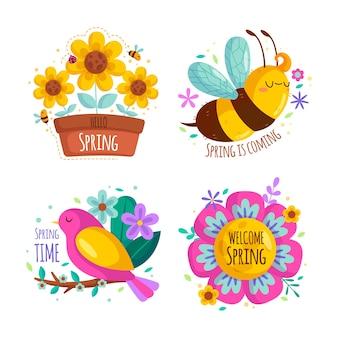 Conjunto de rótulo de primavera de design plano