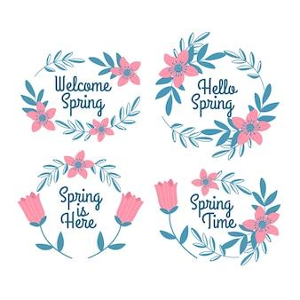 Conjunto de rótulo de primavera mão desenhada