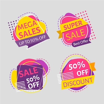 Conjunto de rótulo de promoção de vendas minimalista