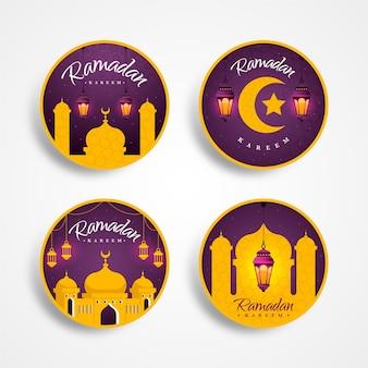 Conjunto de rótulo de ramadan design plano